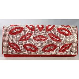 Ladies red clutch bag with rhinestones